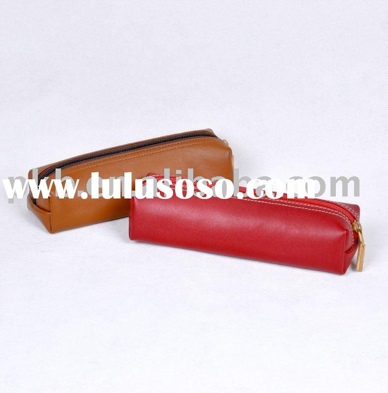 Red/brown pen case pencil pouch/bag