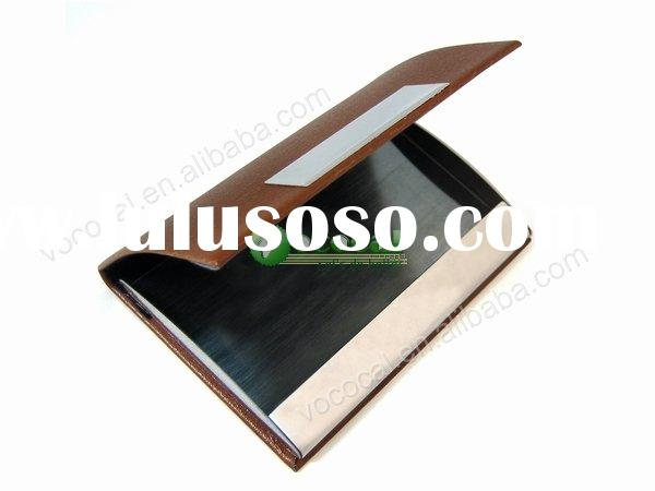 Wholesale Price Business Card Holder Name Credit Case Leather Brown
