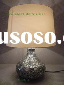 fabric shade  table lamp with glass base
