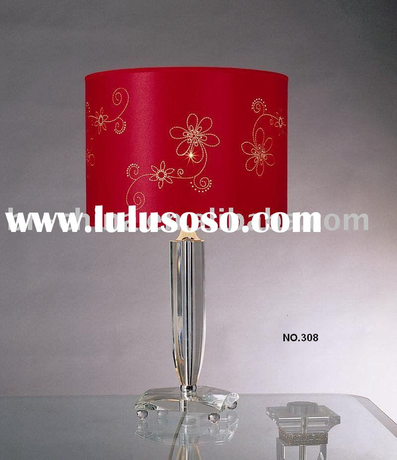 red shade crystal table lamp