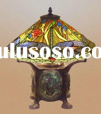 tiffany dragonfly stained glass cluster table lamp/artistic lighting