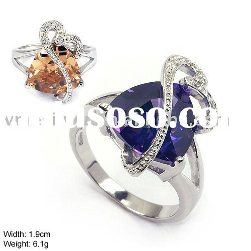 925 Silver Ring without MOQ, Silver Ring with CZ Stone and Crystal - Fashion Ring (JZ-334)