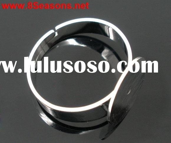 Adjustable Silver Tone Ring Base Blank Glue-on 17.1mm (US 6.75)