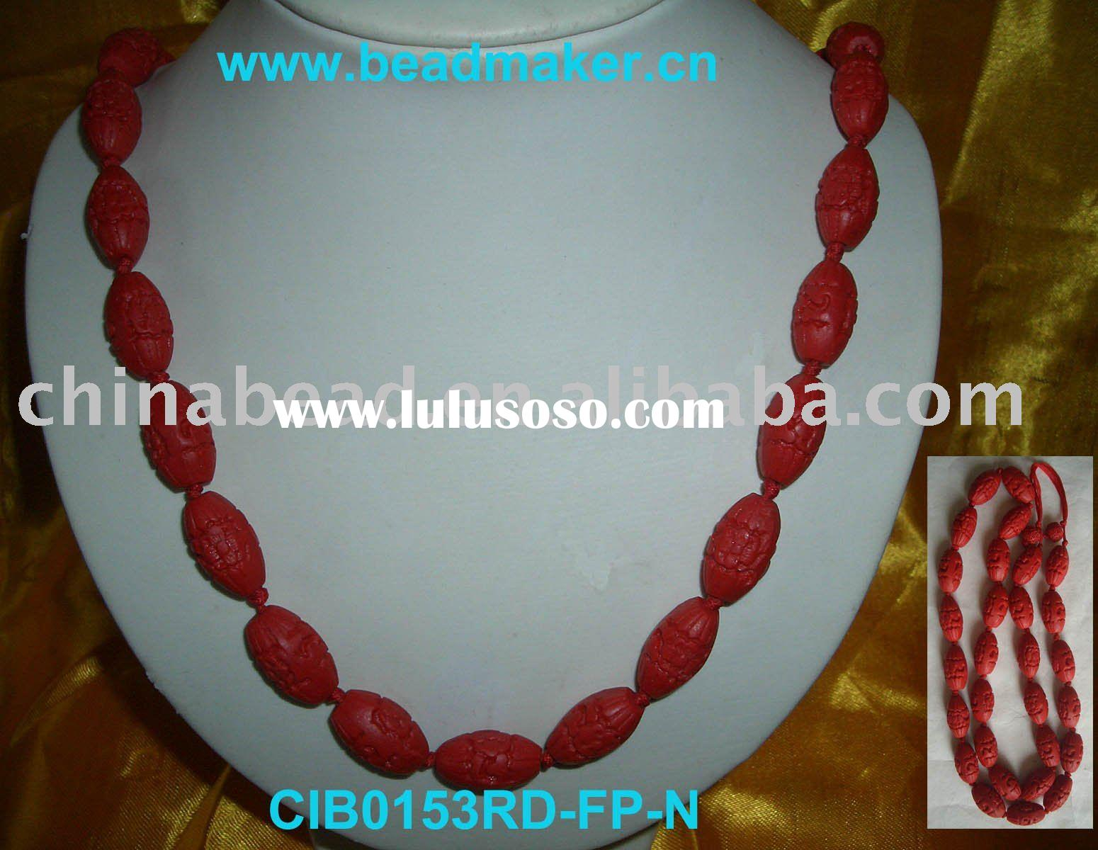 Wholesale fashion necklace jewelry necklace red color cinnabar bead necklace with Chinese knots