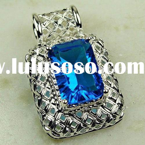 indian jewelry wholesale Fancy blue topaz colored stone jewelry