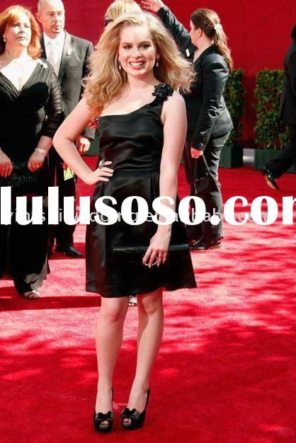 2009 Emmys Red Carpet Formal Gown Allie Grant (Weeds) Black One-Shoulder Celebrity Dresses EY058