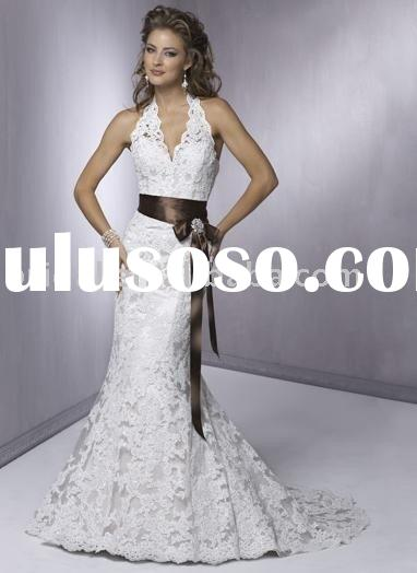 2010 Grace mermaid trumpet halter sash lace wedding dress
