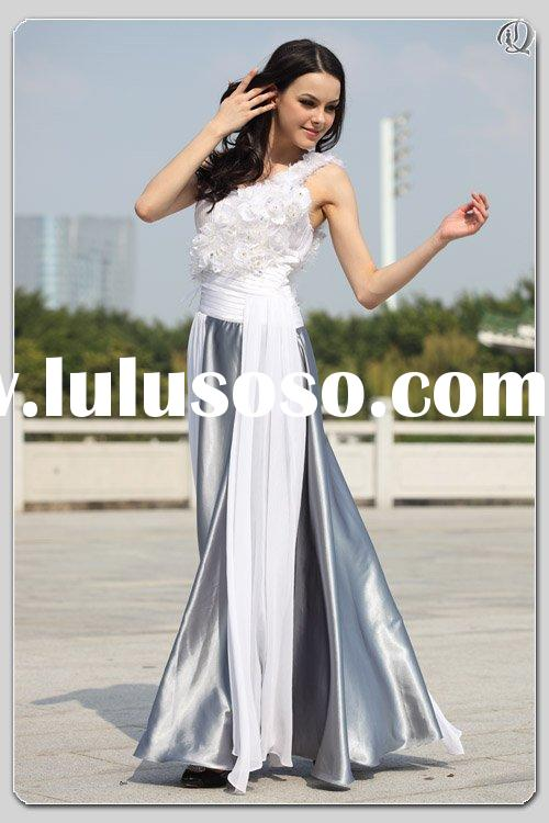 2010 best selling one-shoulder feather white sash gray satin unique wedding dresses