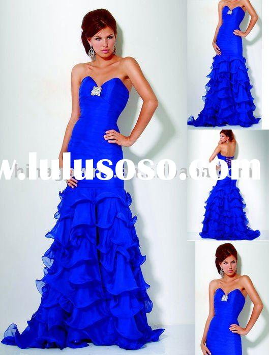2011 Latest design ruffled  evening gown prom dress CJ1191