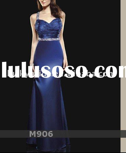 2011 Navy Blue Satin Mermaid Trumpet Wedding dress Evening dress bride gown bridal Dress Prom dress