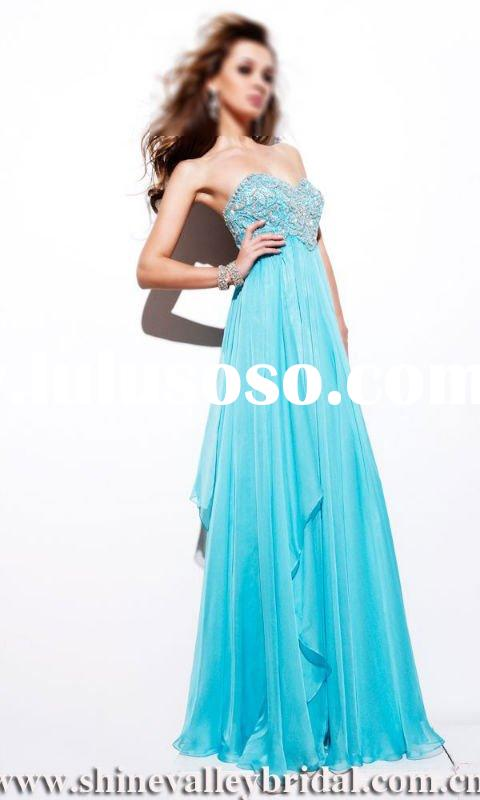 ... Long Chiffon Ruffles Ice Blue Chiffon Evening Dress Prom Dress PG-044