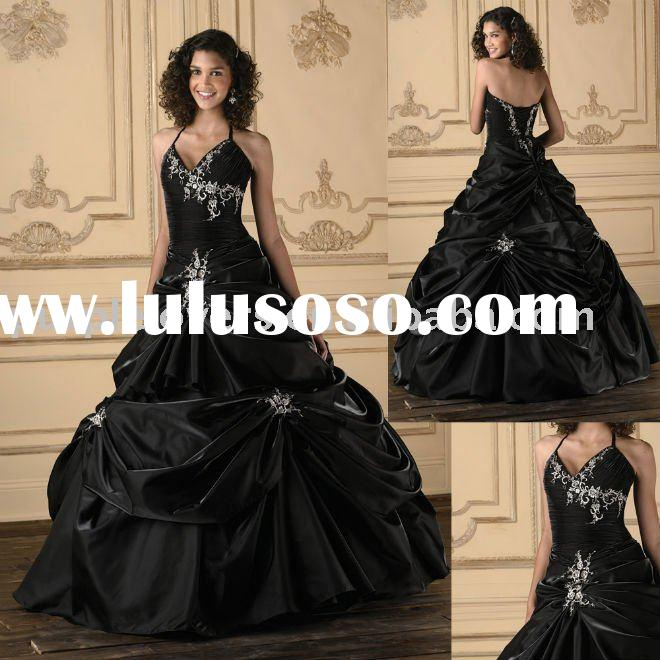 2011 Unique  Spaghetti straps Embroidered  Ball gown prom dress
