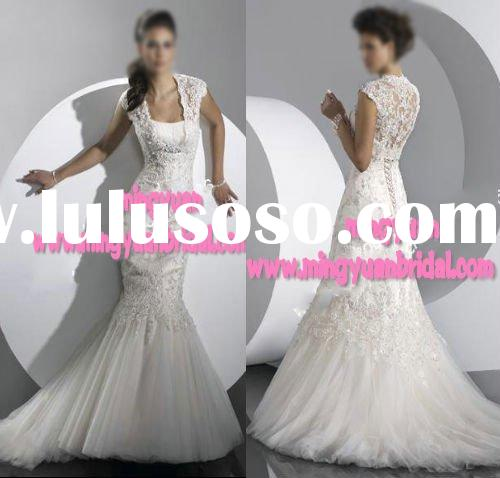 2011 Vintage Classic embroidered Trumpet mermaid sleeveless Wedding Gown