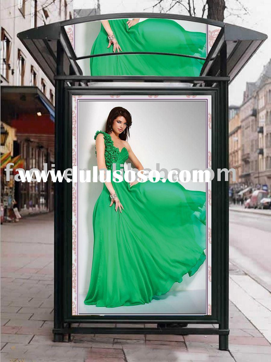 2011 amazing one-shoulder emerald green designer prom dress with floral accents