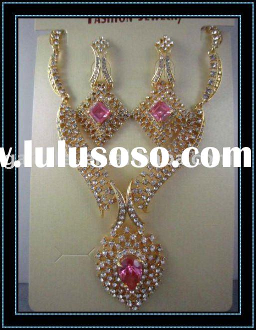 2011 gold plated&rhinestone wedding indian bridal fashion jewelry set