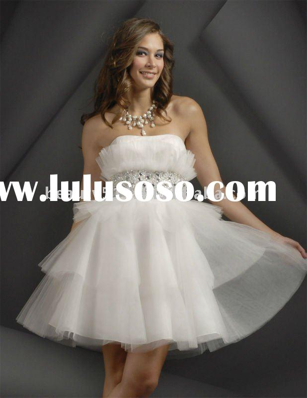 2011 new style white elegant short tulle  sweet heart  party dress  YP1083