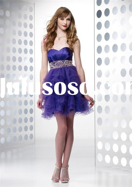 2011 purple organza short prom dresses B35413