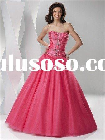 2011 strapless ball gown beading flirt prom dress