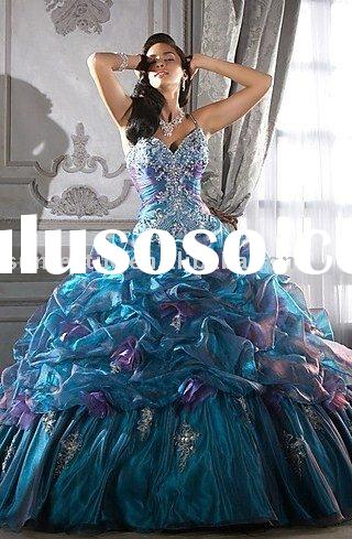 2 tone tulle embroidery beaded Prom dress 2011