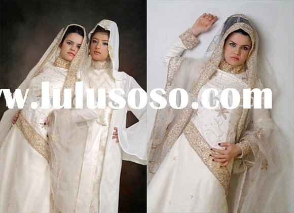 AWD110  2010 fashion lebanon high neckline beaded long sleeves muslim wedding dress