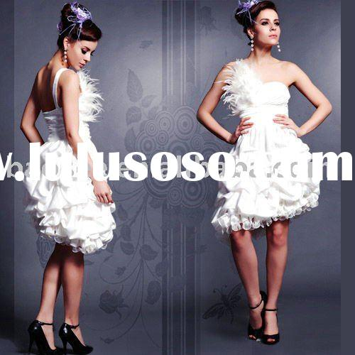 Ball Gown Feathers Ruffle fashion prom dress bridesmaid dress One shoulder Perfect quality D82573