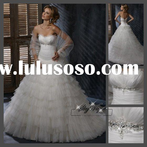 EN0011A white feather with beaded wedding evening dress