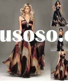 Elegant printed design evening dress prom gown CJ1166
