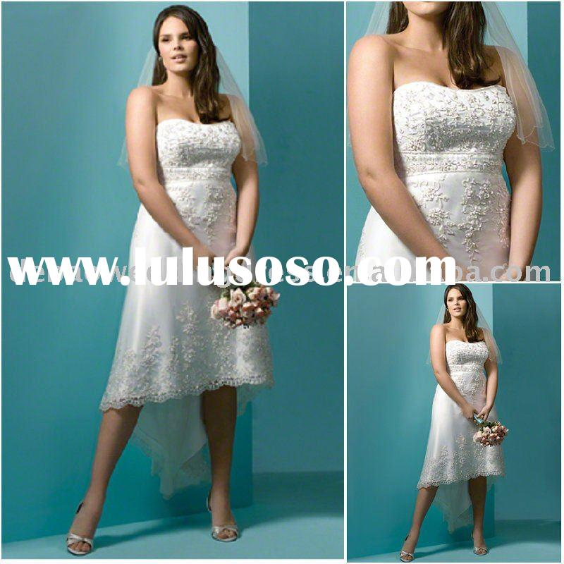 Embroidered Short plus size  wedding dress