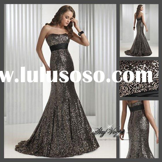 Bronze Satin Evening Dress from Sung Boutique Los Angeles