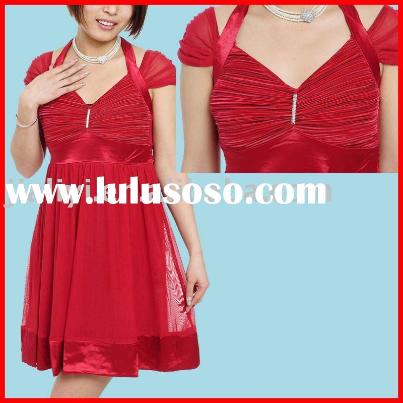 Factory direct sale Hot selling New 100% polyester  2011 fashion red prom dress