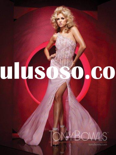 Free shipping best selling gorgeous beaded long pink prom dresses 2011
