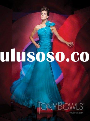 Free shipping best selling one-shoulder long blue prom dresses 2011