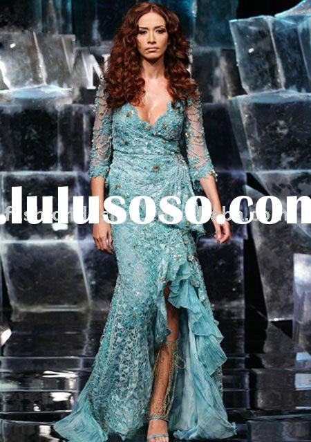M097  2011 Unique short sleeves lace beaded lebanon evening dress