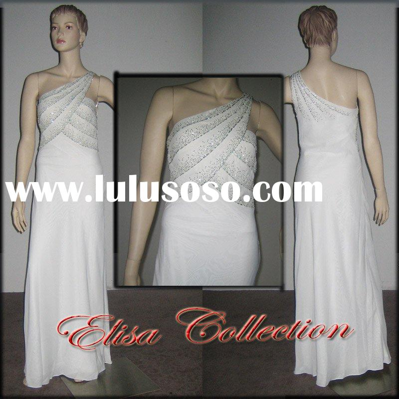 One shoulder elegant white prom gown