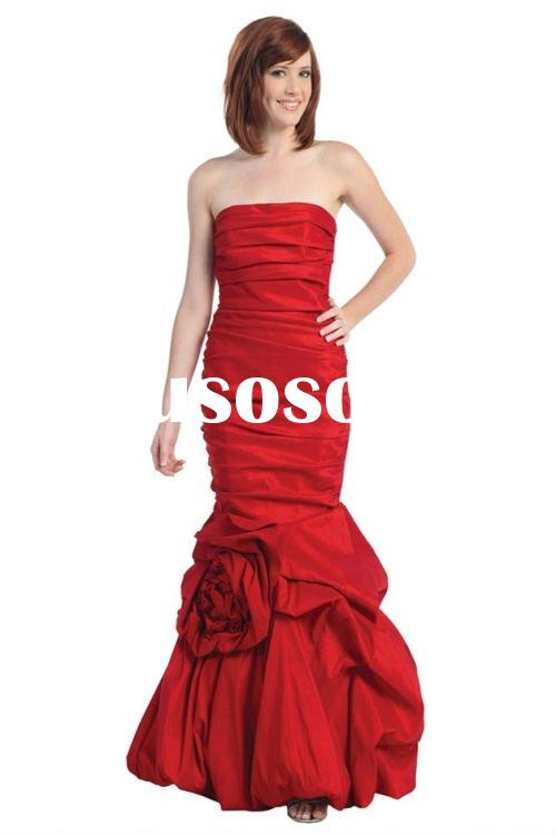 Red Strapless Mermaid Style Long Prom Dress