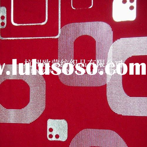 Red geometric figure design flocking fabric wallcovering