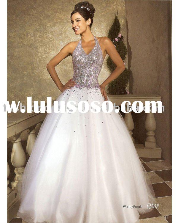 elegant white purple beaded crystals Quinceanera Ball gownsbridesmaid prom