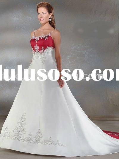 red and white wedding dresses WD0530