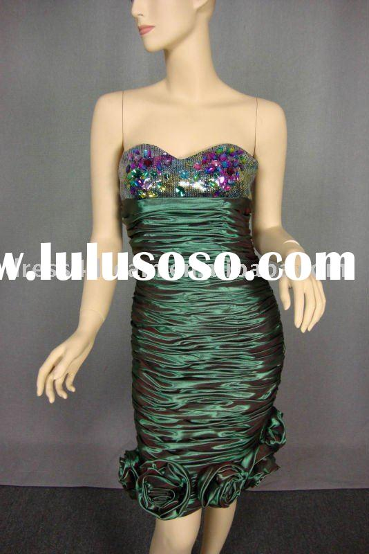 sequins short prom dresses pleated