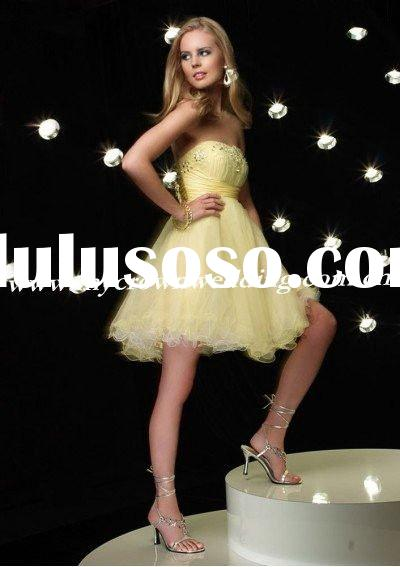 yellow short length beaded party dress evening dress prom dress