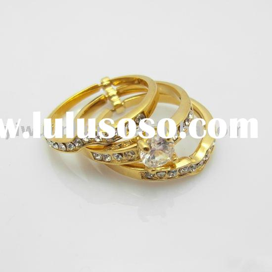 18K GP gold plated wedding rings sets