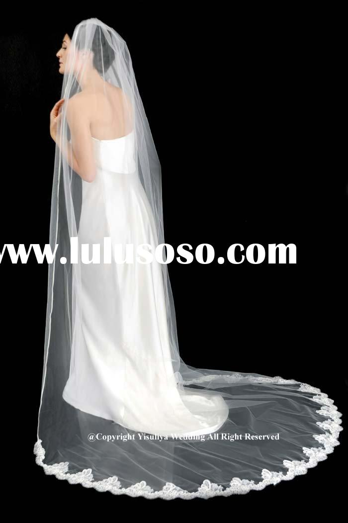 2010 Fashion One-Layer Long Lace Edge Wedding Veil
