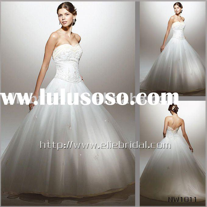 2010 Long-tail ball gown  satin  wedding dress wedding gown retailing and wholesaling