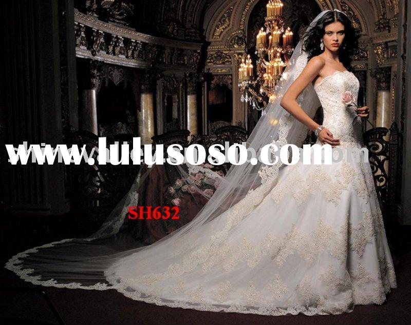 2011 Elegant Puffy Satin and Tulle Lace Ball Gown Wedding Dress,SH632