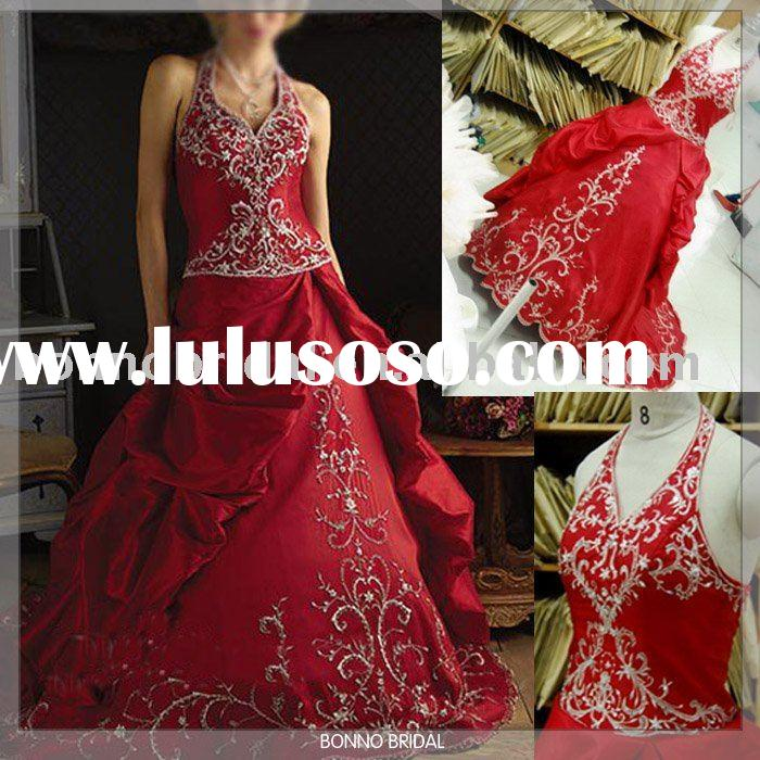 2011 Embroidered Real Red Wedding Dresses /Red Wedding Gowns /Red Bridal Gowns -A015