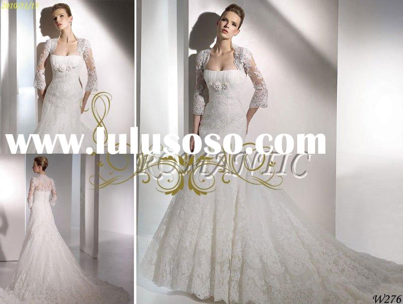 2011 Hot sale elegant lace long sleeve A-line bridal wedding gown