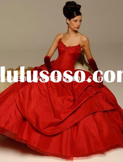 2011 New Arrival Strapless Ball Gown Red Wedding Dresses