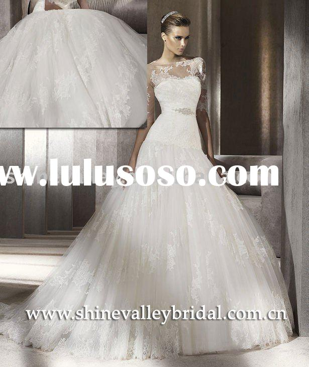 2011 New Lace on Tulle Designer Ball Gown,Puffy Wedding Dress,PV341,Customer Made