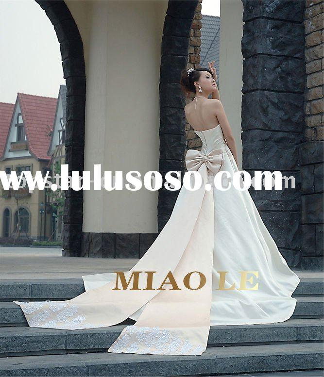 2011 hot sale champagne elegant luxury  royal wedding gown