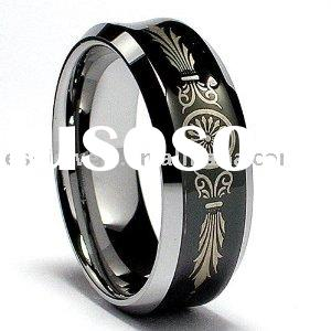 8MM Black Concave Laser Etched Tungsten Ring Wedding Band